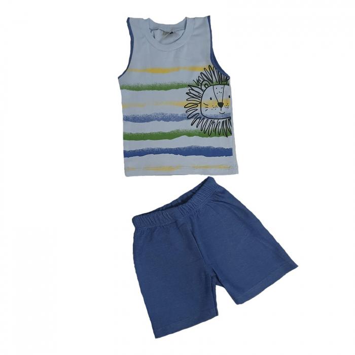 Compleu pantaloni scurti albastri si tricou bleu leu 3-18 luni 0