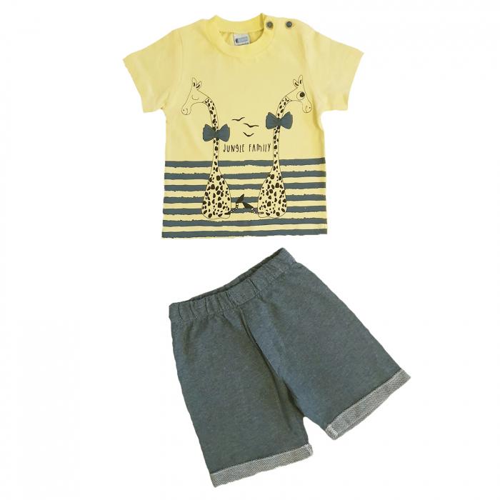 Compleu pantaloni scurti albastri si tricou gaben girafe bumbac 3-6 luni 0