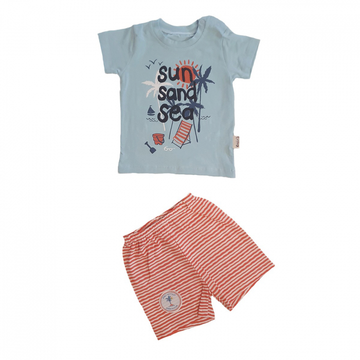 Compleu bebelusi tricou bleu plaja si pantaloni scurti dungati bumbac 0-6 luni 0