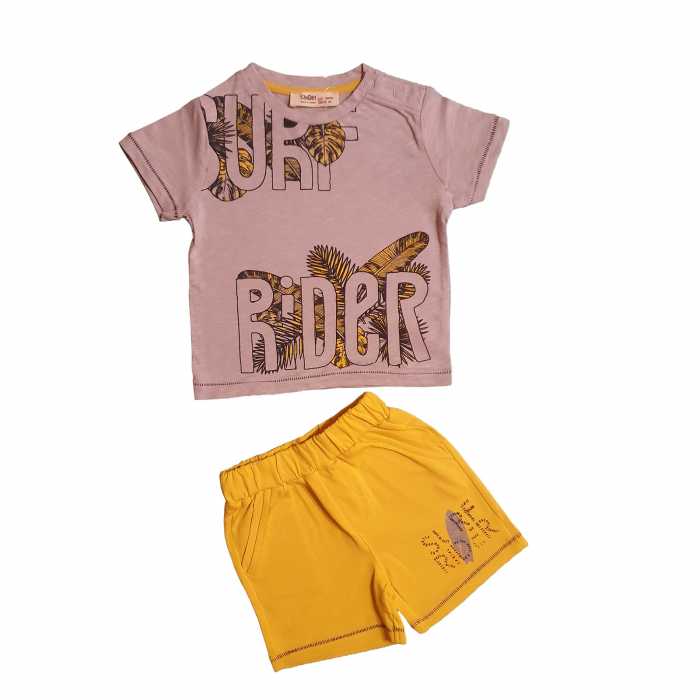 Compleu bebelusi tricou gri si pantaloni galbeni surf bumbac 6-36 luni [0]