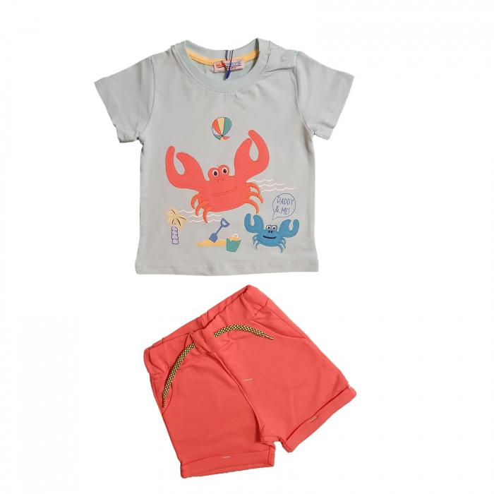 Compleu bebelusi tricou bleu crabi si pantaloni scurti corai bumbac 6-36 luni 0