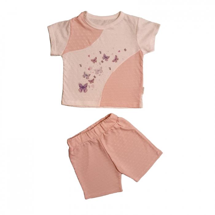Compleu pantaloni scurti si tricou alb cu roz fluturas bumbac 0-6 luni [0]