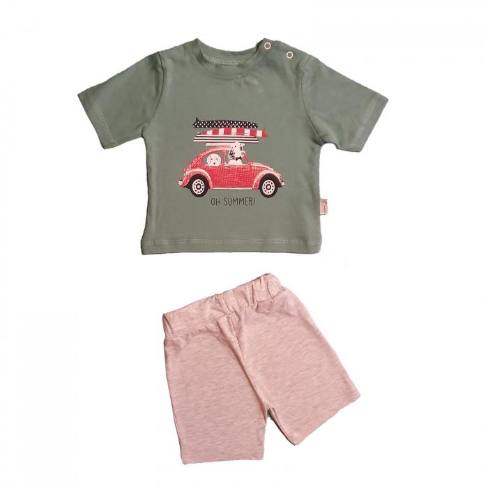 Compleu bebelusi tricou verde masinuta si pantaloni scurti gri bumbac 3-9 luni [0]