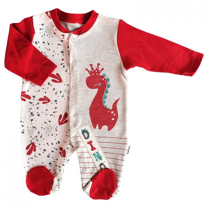 Salopeta bebe rosie dragon cu coronita 0