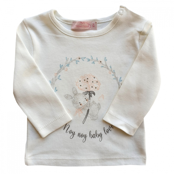 Bluza alba fetita iepuras cu floricica [0]