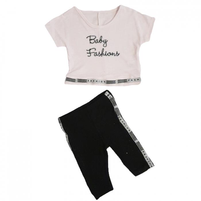 Compleu pantaloni 3 sferturi negri si tricou Baby Fashions 3-12 luni 0