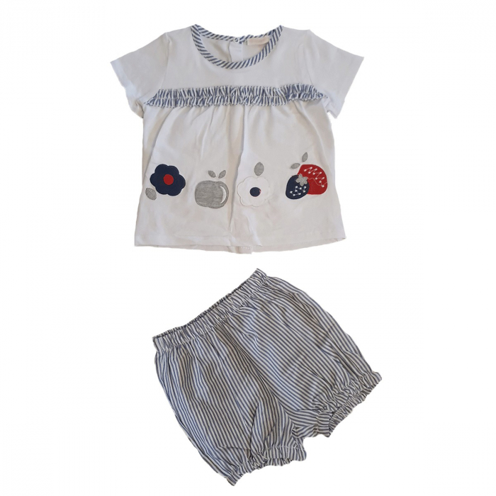 Compleu fetita pantaloni scurti in dungi si tricou alb 0-6 luni 0