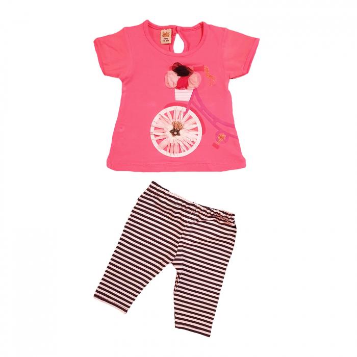 Compleu fetita tricou roz bicicleta si colanti albi-negri 12-18 luni 0