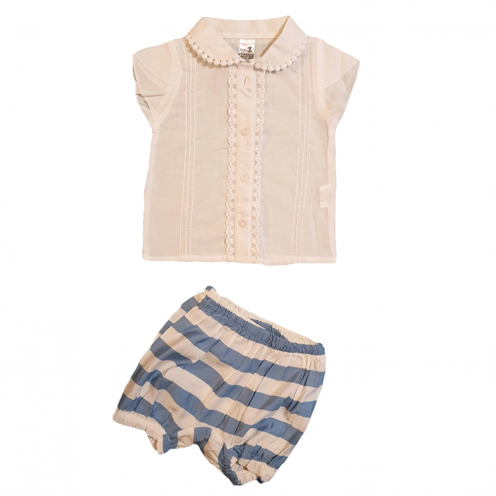 Compleu pantaloni scurti dungi albe albastre si bluza alba 6-12 luni 0