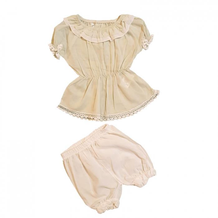 Compleu bluza vernil si pantaloni scurti albi 3-12 luni 0