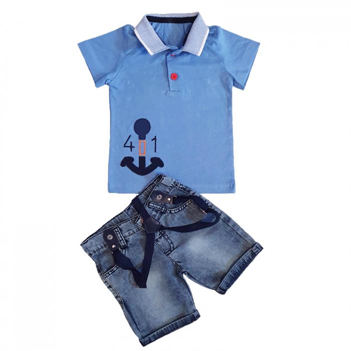 Compleu blugi scurti si tricou polo albastru bumbac 6-24 luni 0