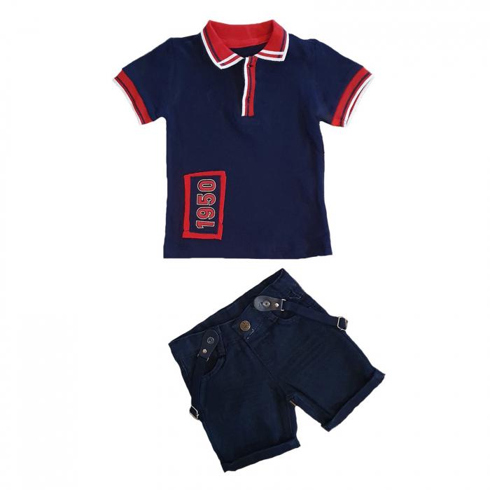 Compleu tricou polo maneca scurta albastru si blugi scurti albastri 12 -24 luni 0