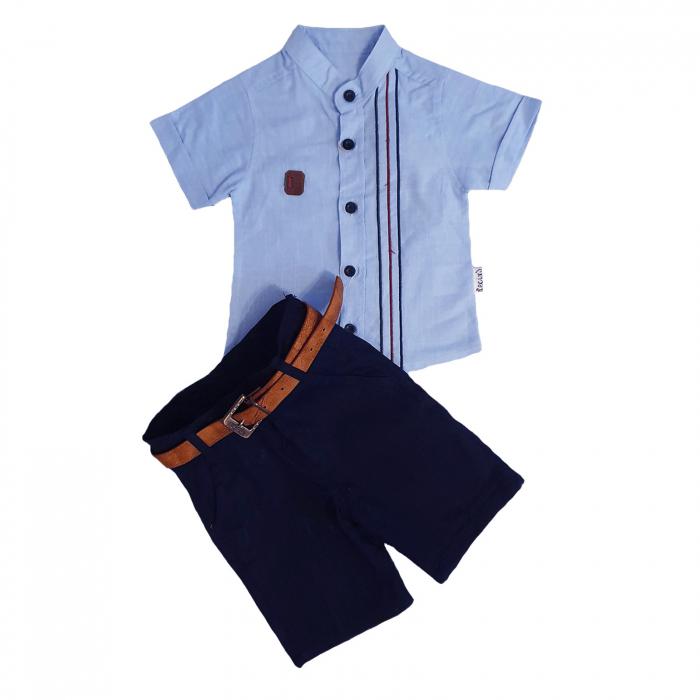 Compleu pantaloni scurti albastri si camasa maneca scurta bleu 1-4 ani 0