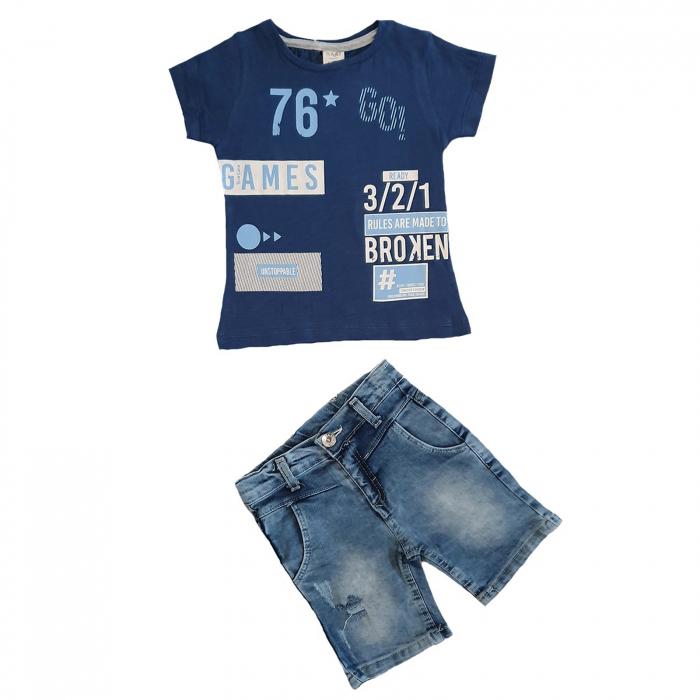 Compleu tricou albastru imprimeu games si blugi scurti 1-5 ani 0