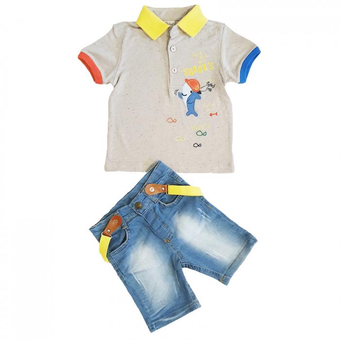 Compleu bebelusi blugi scurti si tricou imprimeu rechin bumbac 9-36 luni [0]