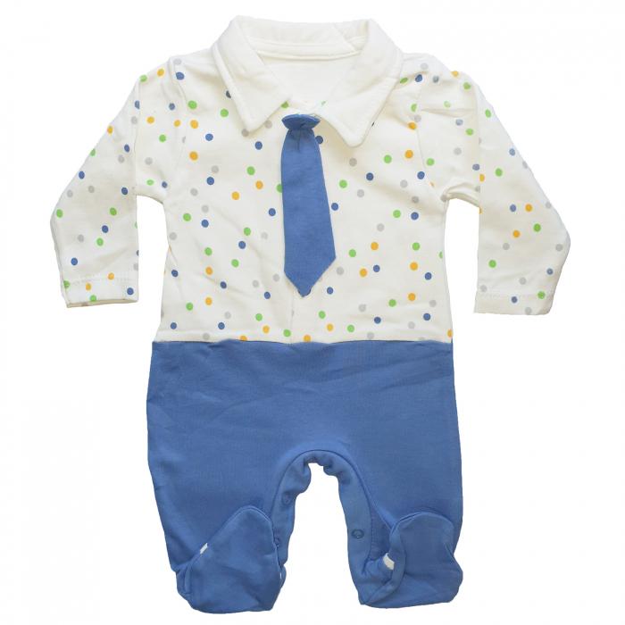 Salopeta bebe cravata albastra 0
