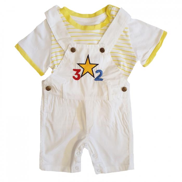 Salopeta bebelusi alb cu bretele si tricou bumbac 3-18 luni 0