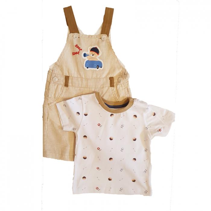 Salopeta bebelusi maro si tricou polo bumbac 0-12 luni 0