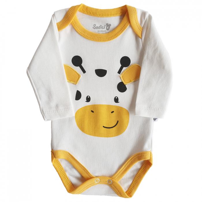 Body bebe vacuta alb cu galben bumbac 0-18 luni 0