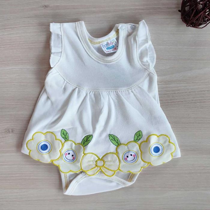 Body bebelusi maiou cu fustita din bumbac alb cu galben 0-9 luni [0]