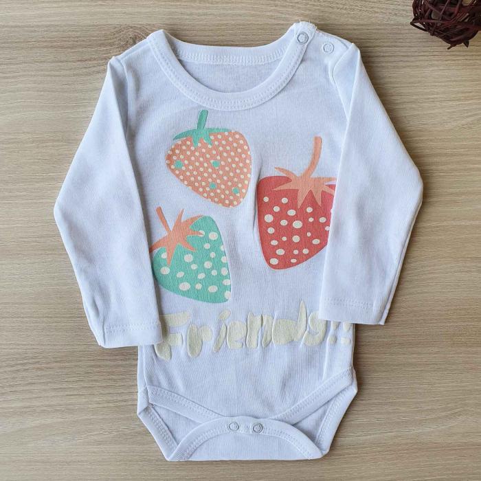 Body bebelusi maneca lunga capsuni alb bumbac 0-12 luni 0