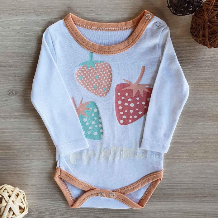 Body bebelusi maneca lunga capsuni bumbac 0-12 luni 0