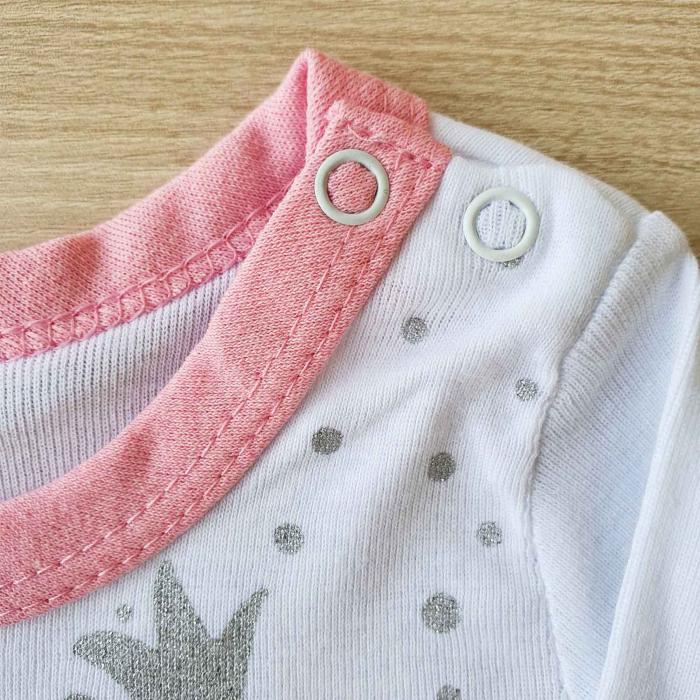 Body bebelusi maneca lunga flamingo roz bumbac 0-12 luni 1