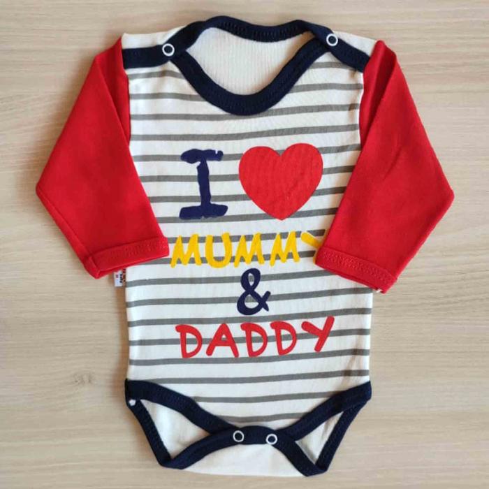 Body bebelusi maneca lunga i love mummy & daddy bumbac 0-18 luni [0]