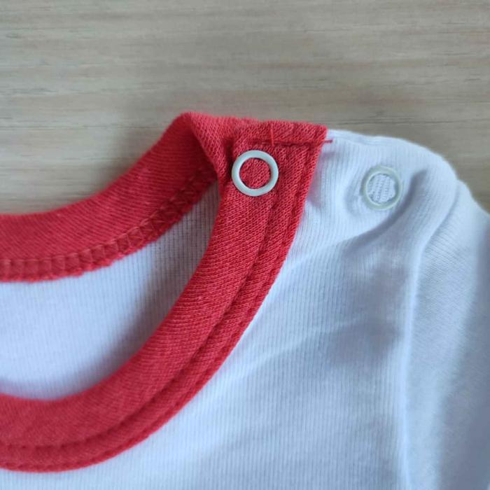 Body bebelusi maneca lunga iepuras cu fundita rosu bumbac 0-12 luni [1]