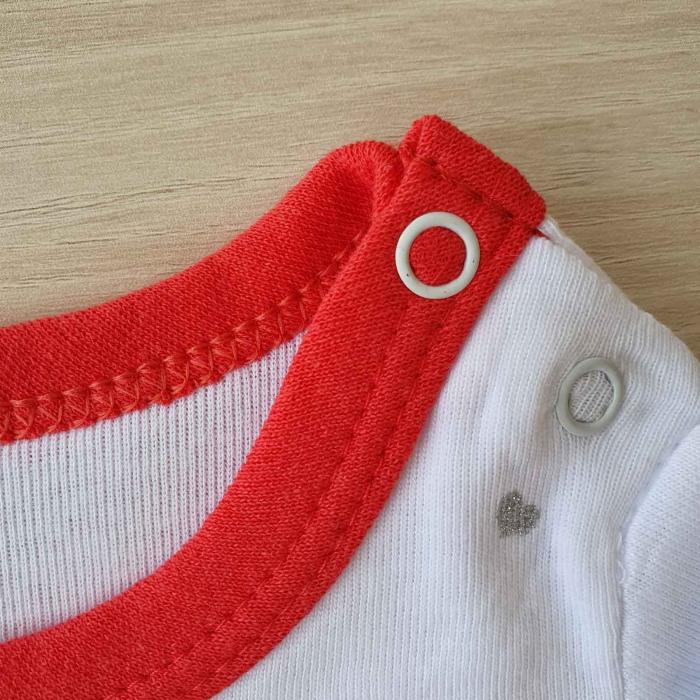 Body bebelusi maneca lunga iepuras rosu bumbac 0-12 luni 1