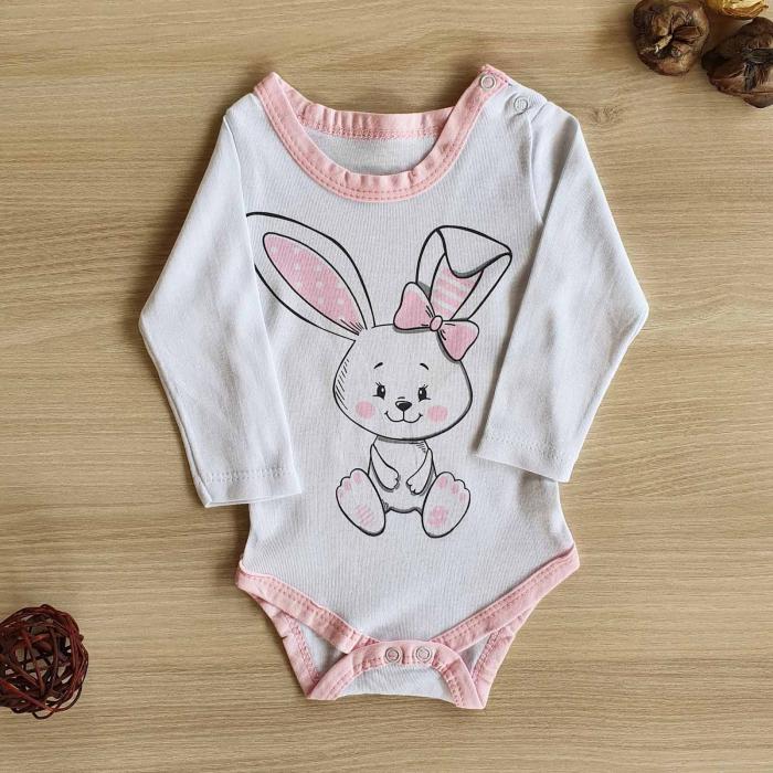 Body bebelusi maneca lunga iepuras roz bumbac 0-12 luni [0]