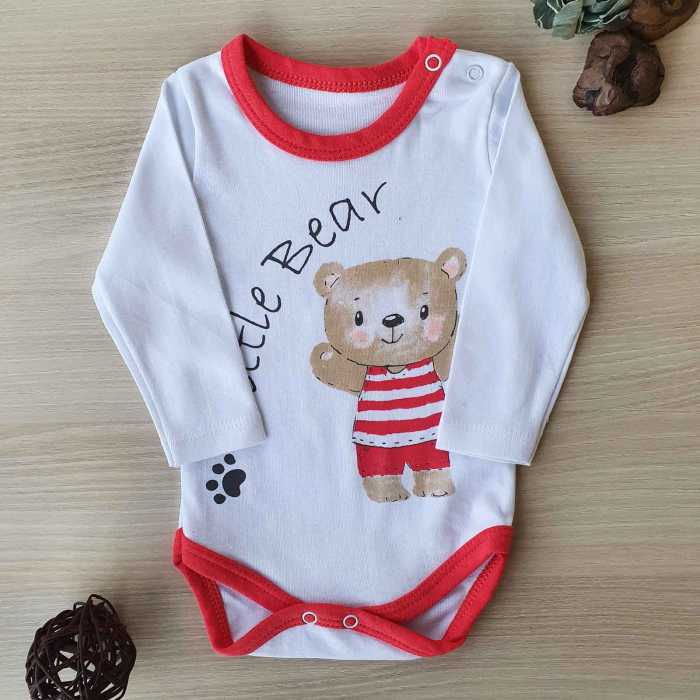 Body bebelusi maneca lunga little bear rosu bumbac 0-12 luni 0