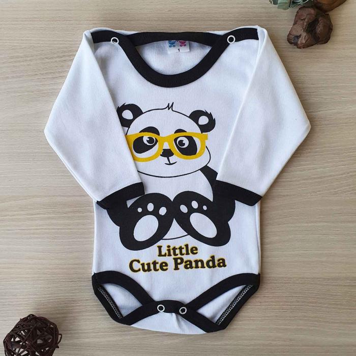 Body bebelusi maneca lunga panda bumbac 0-24 luni 0