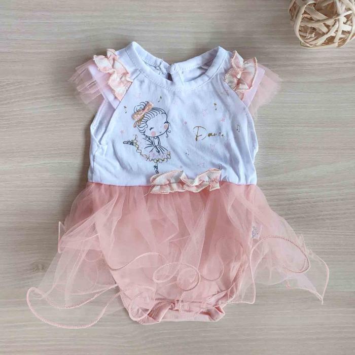 Body bebelusi maneca scurta cu tiul roz balerina bumbac 0-9 luni [0]
