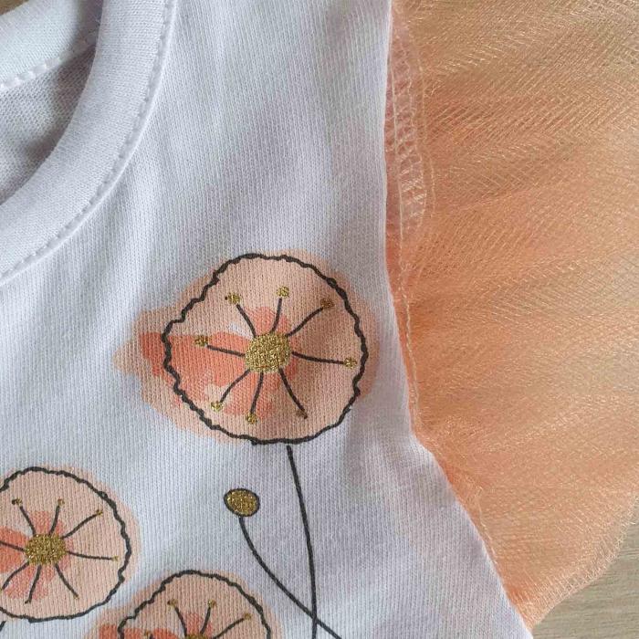 Body bebelusi maneca scurta cu tiul somon si ciucurasi colorati 0-9 luni [1]