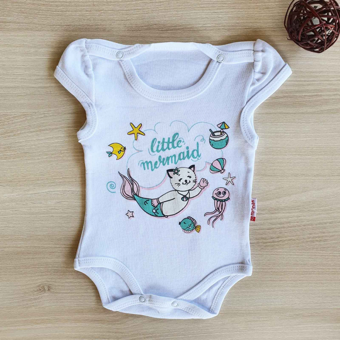 Body bebelusi maneca scurta mica sirena alb bumbac 0-12 luni [0]