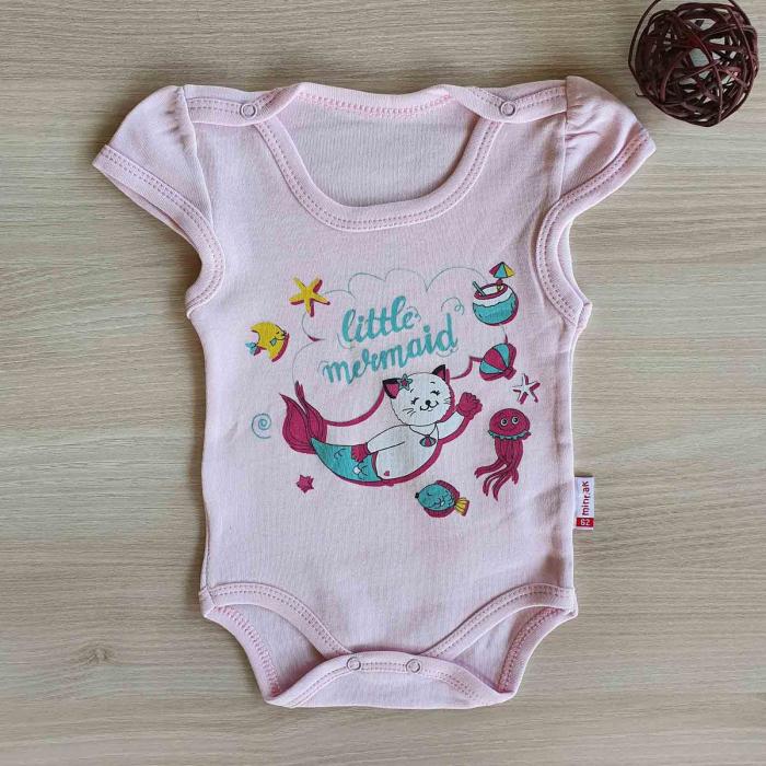 Body bebelusi maneca scurta mica sirena roz bumbac 0-12 luni [0]