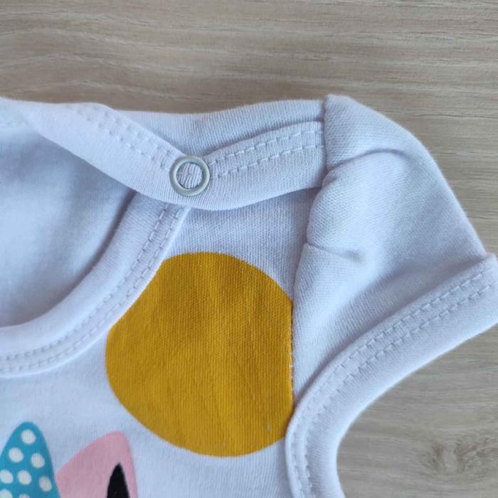 Body bebelusi maneca scurta pisicuta alb bumbac 0-12 luni [1]