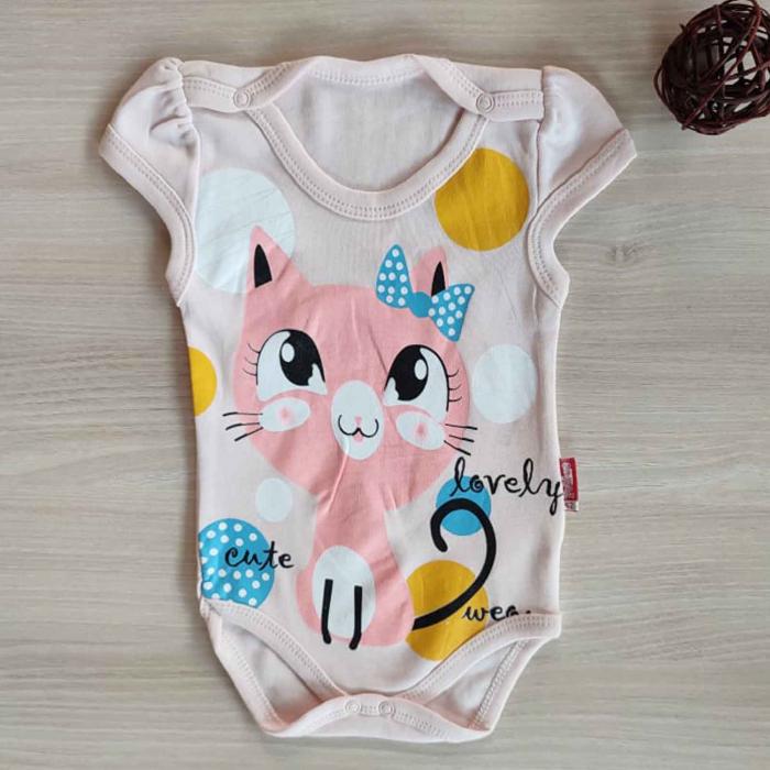 Body bebelusi maneca scurta pisicuta roz bumbac 0-12 luni [0]