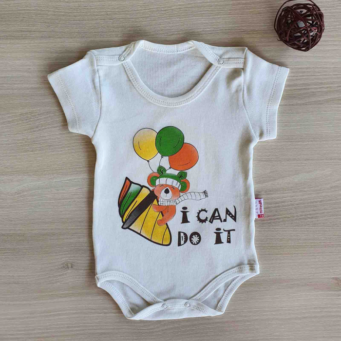 Body bebelusi maneca scurta ursulet cu baloane alb bumbac 0-12 luni [0]