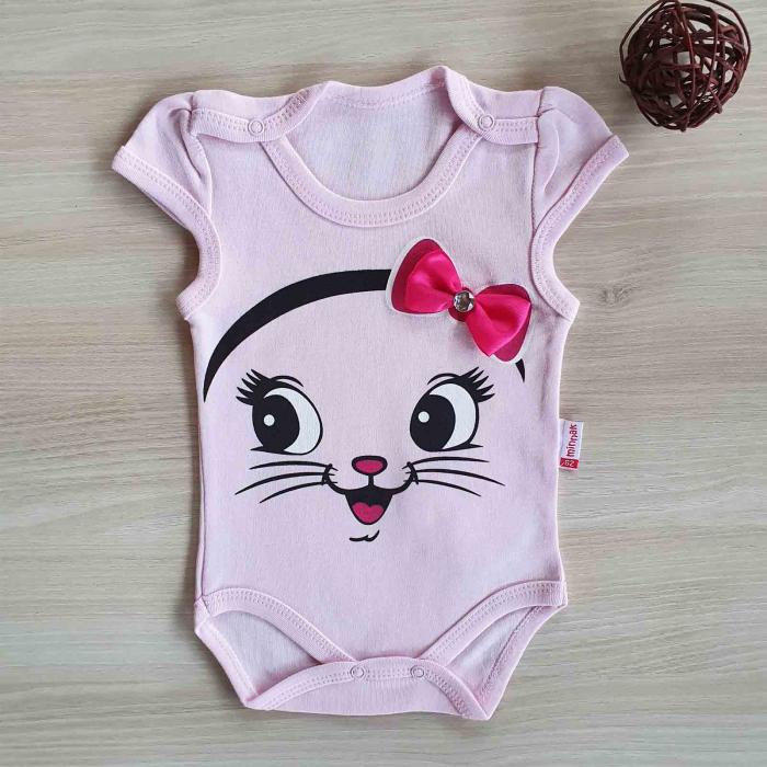 Body bebelusi pisicuta cu fundita roz bumbac 0-12 luni [0]