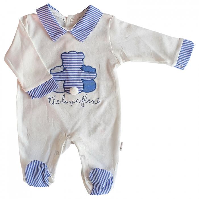 Salopeta bebe alba cu ursulet albastru 0