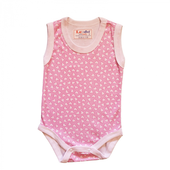 Body maiou bebelusi inimioare roz bumbac 3-6 luni 0