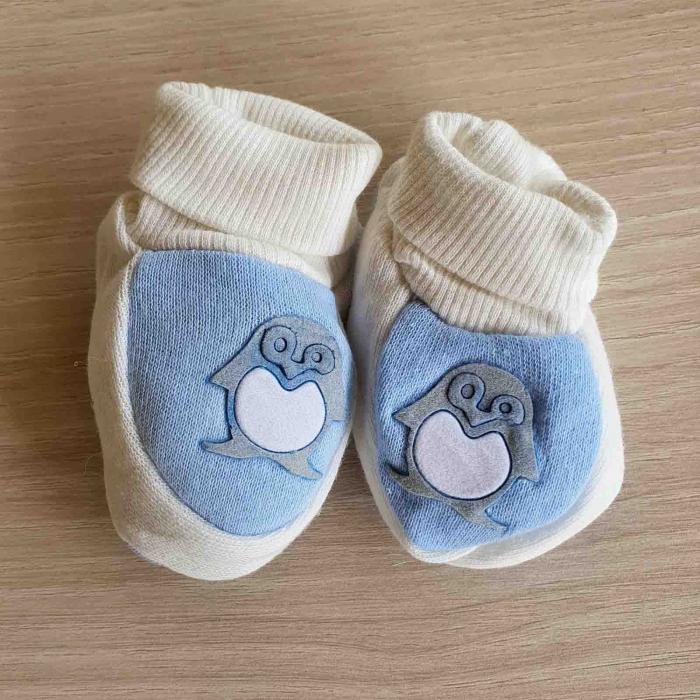 Botosei bebelusi bleu pinguin bumbac 0-3 luni [0]