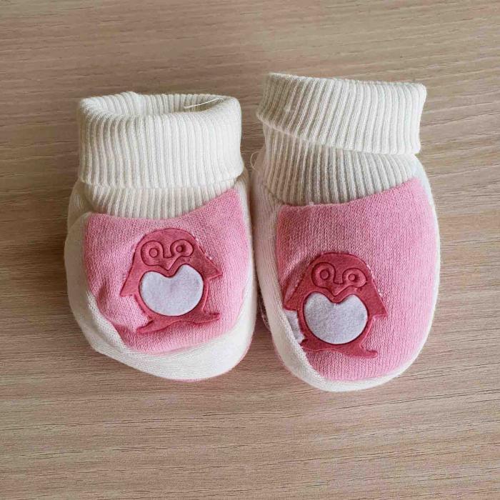 Botosei bebelusi roz pinguin bumbac 0-3 luni [0]