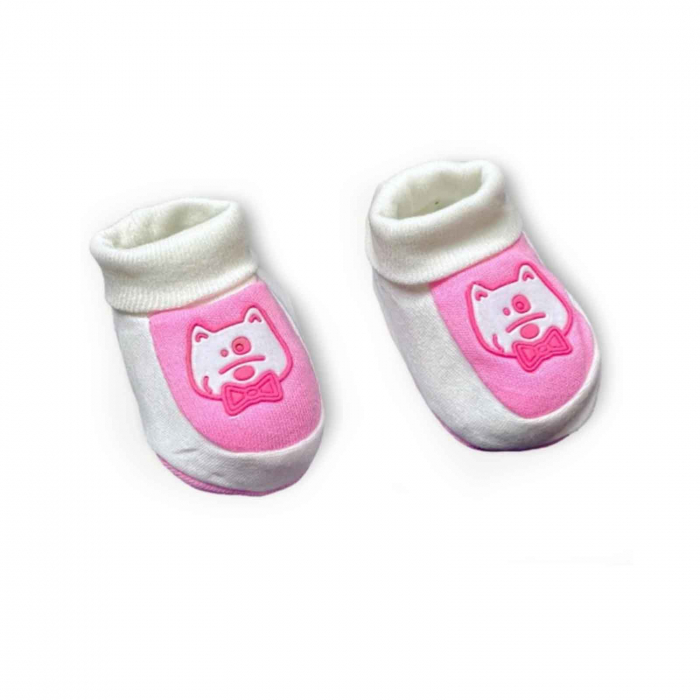 Botosei bebelusi roz pisicuta bumbac 0-3 luni 0