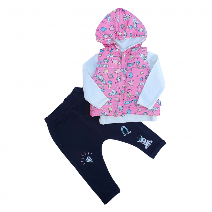 Compleu fetita cu vesta roz unicorn 0