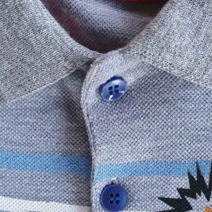 Compleu bebelusi pantaloni scurti si tricou gri cu dungi colorate bumbac 6-24 luni [1]