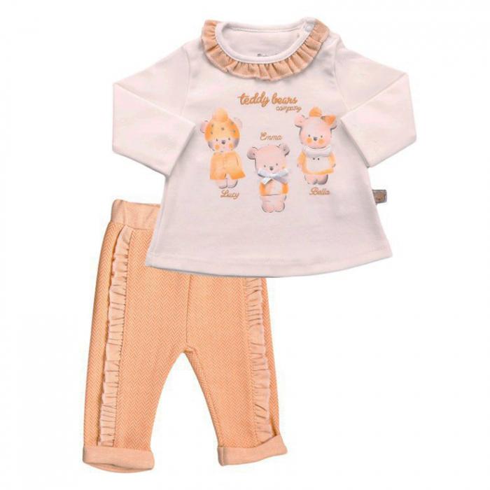 Compleu bluza guler  volan incretit Teddy Bear roz 0