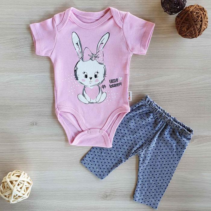 Compleu body bebelusi maneca scurta si pantaloni 3 sferturi iepuras bumbac 0-12 luni 0